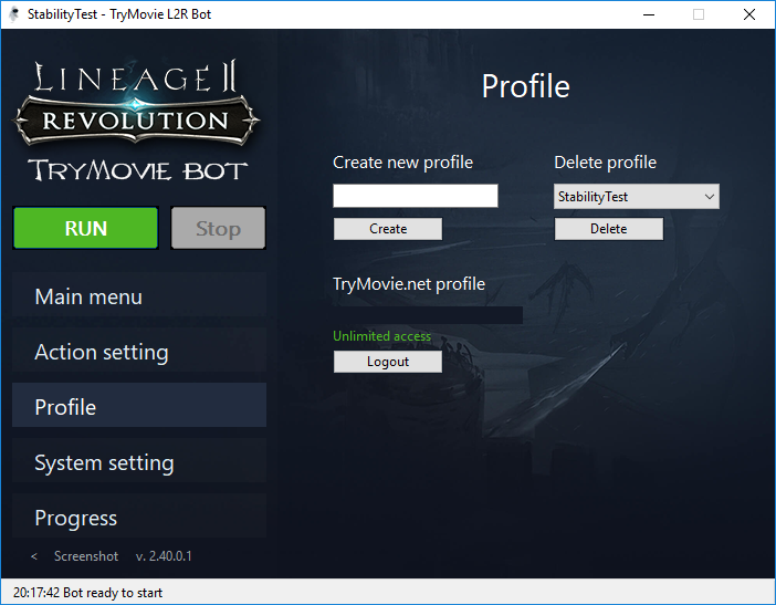 TryMovie Lineage 2 Revolution Bot interface