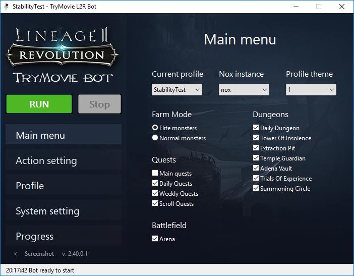 TryMovie Lineage 2 Revolution Bot interface
